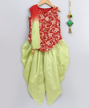 Betty By Tiny Kingdom Self Design Sleeveless Kurta With Dhoti - Orange & Green