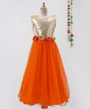 Betty By Tiny Kingdom Rose Flower Applique At Waistline Sleeveless Gown - Orange