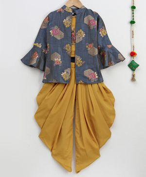 Betty By Tiny Kingdom Top With Flower Print Full Sleeves Jacket & Dhoti - Mustard Yellow