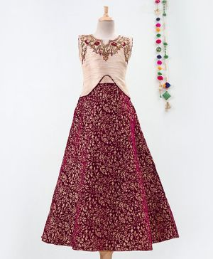 Betty By Tiny Kingdom Zari Work Neckline Sleeveless Gown - Maroon