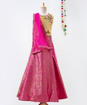 Betty By Tiny Kingdom Zari Work Sleeveless Choli With Dupatta & Lehenga - Pink & Gold