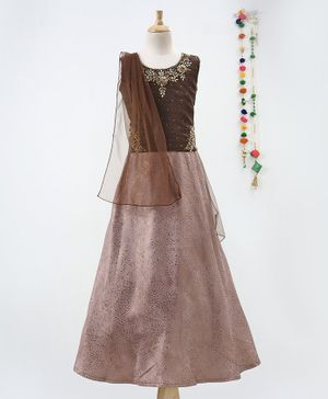 Betty By Tiny Kingdom Zari Work Sleeveless Choli With Dupatta & Lehenga - Brown