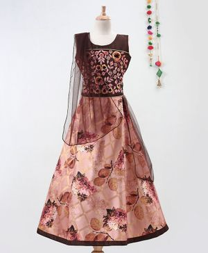 Betty By Tiny Kingdom Sleeveless Choli With Dupatta & Flower Print Lehenga - Brown