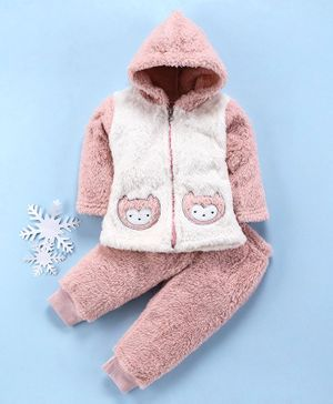 MFM Full Sleeves Hooded Tee With Lounge Pant Animal Patch - Pink