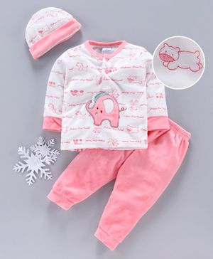 MFM Full Sleeves Winter Wear Tee & Bottom With Cap Elephant Patch - White Pink