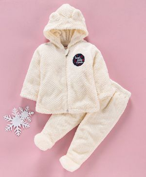 MFM Full Sleeves Winter Wear Hooded Jacket & Bootie Leggings - Cream