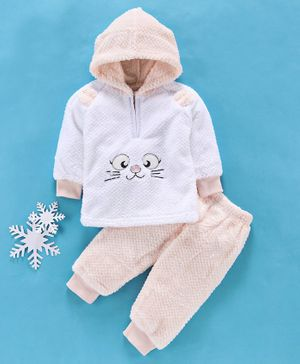 MFM Full Sleeves Winter Wear Hooded Sweatshirt & Lounge Pant Kitty Patch - Peach