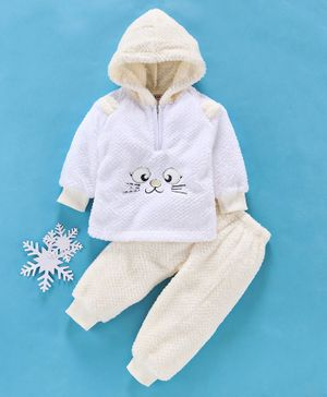 MFM Full Sleeves Winter Wear Hooded Sweatshirt & Lounge Pant Kitty Patch - Yellow