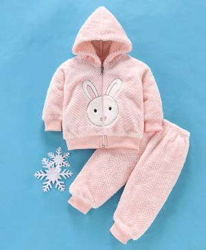 MFM Full Sleeves Winter Wear Hooded Sweat Jacket & Lounge Pant Bunny Patch - Pink