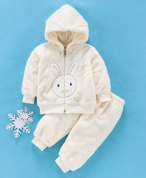 MFM Full Sleeves Winter Wear Hooded Sweat Jacket & Lounge Pant Bunny Patch - Cream