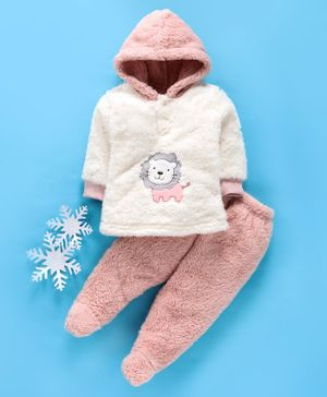 MFM Full Sleeves Winter Wear Hooded Sweatshirt & Bootie Leggings Lion Patch - White Pink