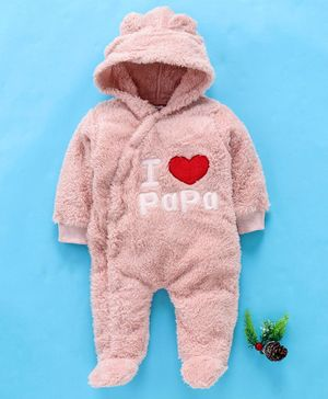 MFM Full Sleeves Footed Romper Papa Embroidery - Pink