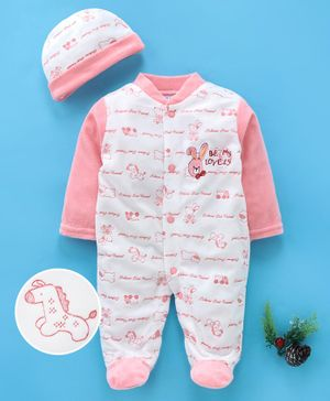 MFM Full Sleeves Footed Romper With Cap Animal Print - White Pink