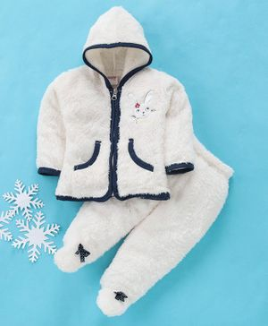 MFM Full Sleeves Winter Wear Hooded Sweat Jacket & Bootie Leggings Bunny Patch - White