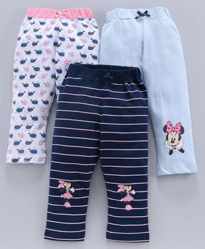 Tambourine Full Length Pack Of Three Striped & Minnie Mouse Print Leggings - Multi Colour