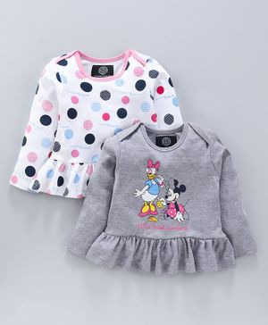 Tambourine Full Sleeves Minnie Mouse & Circle Print Pack Of Two Dresses - Grey & White