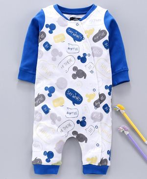 Tambourine Full Sleeves Mickey Mouse Print Romper - Blue