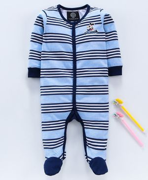Tambourine Full Sleeves Striped Sleep Suit - Blue