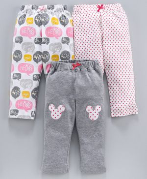 Tambourine Full Length Pack Of Three Polka Dot Print & Hello Minnie Mouse Print Lounge Pants - Multi Colour