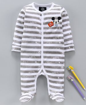 Tambourine Full Sleeves Striped Sleep Suit - Grey