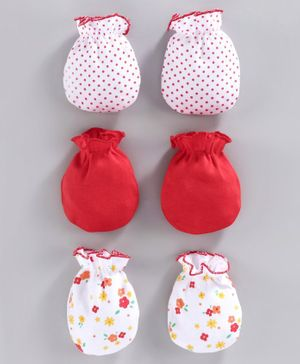 Babyhug 100% Cotton Mittens Printed & Solid Color Pack of 3 - Red White