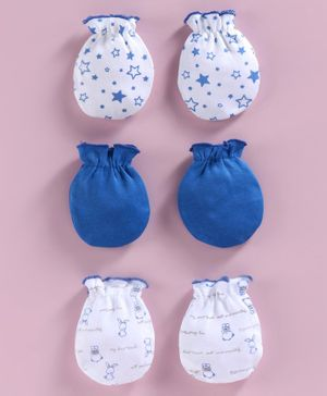 Babyhug 100% Cotton Mittens Printed & Solid Color Pack of 3 - Blue White