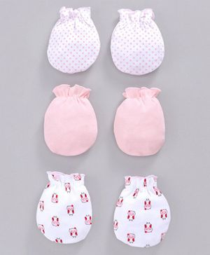 Babyhug 100% Cotton Mittens Printed & Solid Color Pack of 3 - Pink White