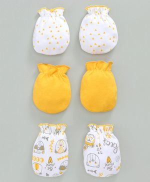 Babyhug 100% Cotton Mittens Printed & Solid Color Pack of 3 - Yellow White
