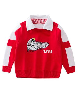 Awabox Shoe Embroidered Full Sleeves Sweater - Red