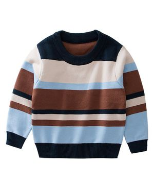 Awabox Striped Full Sleeves Sweater - Brown