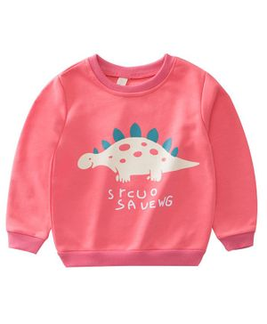 Awabox Dinosaur Print Full Sleeves Sweatshirt - Pink