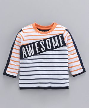 Babyoye Full Sleeves Striped Tee Awesome Print - Black Orange