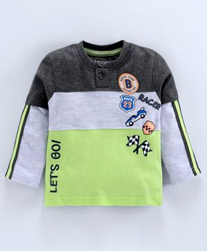 Babyoye Full Sleeves Cotton Tee Car Patch - Green