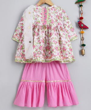 Little Bansi Flower Printed Pom Pom Decorated Full Sleeves Kurta With Sharara & Netted Dupatta - White & Pink