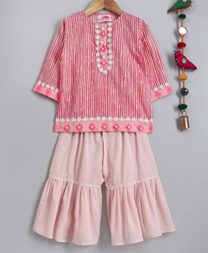 Little Bansi Striped Flower Embroidered Full Sleeves Kurta With Sharara - Pink