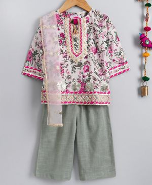 Little Bansi Floral Printed Full Sleeves Kurta With Pyjama & Netted Dupatta - White & Green