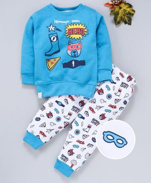 Ollypop Full Sleeves Tee And Lounge Pant Superhero Accessories Print - Blue