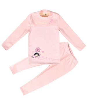 Pre Order - Awabox Girl Holding Flower Printed Full Sleeves Night Suit - Light Pink