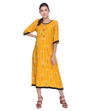 MomToBe Floral Print Half Sleeves Maternity Dress - Yellow