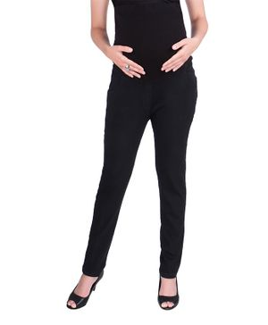 MomToBe Solid Full Length Maternity Jeans - Black