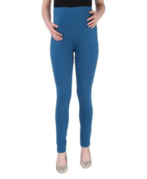 MomToBe Solid Full Length Maternity Leggings - Blue
