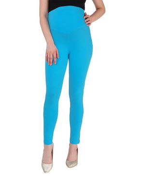 MomToBe Solid Full Length Maternity Leggings - Aqua Blue