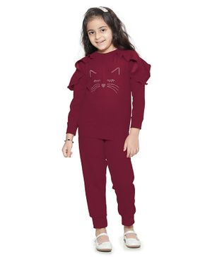 Lilpicks Couture Cat Face Embellished Ruffled Full Sleeves Sweatshirt & Bottom Set - Wine