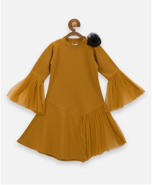 Lilpicks Couture Flower Detailing Full Sleeves Dress - Mustard