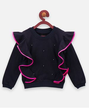 Lilpicks Couture Pearls Frilled Full Sleeves Sweatshirt - Navy Blue