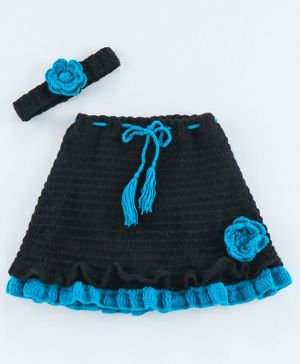 USHA ENTERPRISES Rose Frilled Knee Length Skirt With Headband - Blue And Black