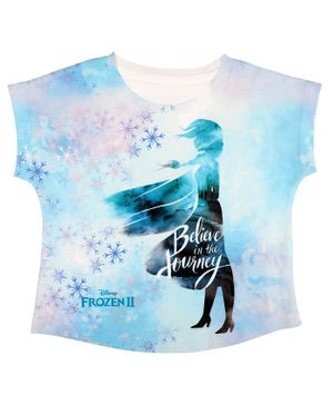 Disney By Crossroads Frozen Believe In The Journey Printed Short Sleeves Top - Light Blue