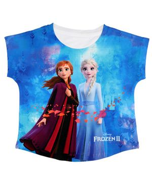 Disney By Crossroads Frozen Sisters Printed Short Sleeves Top - Blue