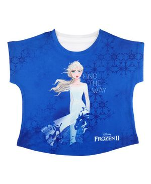 Disney By Crossroads Frozen Find The Way Printed Short Sleeves Top - Royal Blue