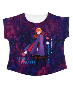 Disney By Crossroads Frozen Seek The Truth Anna Printed Half Sleeves Top - Purple